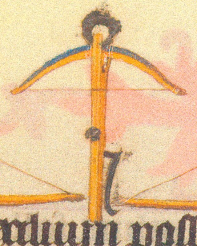 Armbr., Bögen u. Bolzen, Stundenbuch d. Katharina v. Kleve, ~1440.  2 kl
