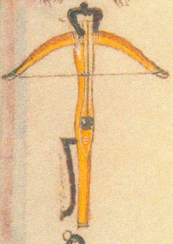Armbr., Bögen u. Bolzen, Stundenbuch d. Katharina v. Kleve, ~1440.  3 kl